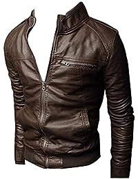 cea7e517d71072 Targogo Veste en Similicuir pour Homme Veste en Cuir Coupe À Ajustée Veste  Chic en Cuir