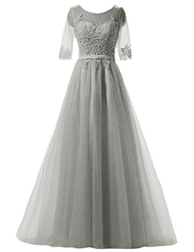 Clearbridal Damen Prinzessin Ballkleid Abschlusskleid Lang Abendkleid Langarm mit Spitze CAH004 Grau...