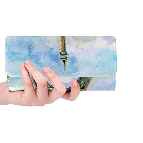 rdefinierte Stadt Paris Malerei Eiffelturm Frauen Trifold Wallet Lange Geldbörse Kreditkarteninhaber Fall Handtasche ()