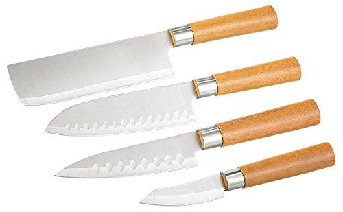 TokioKitchenWare 4-teiliges Küchen-Messerset Edelstahl (PEARL Edition)