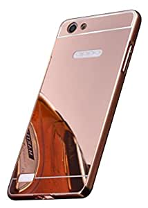 Oppo Neo 7 Case,Spygen™ Luxury Metal Bumper + Acrylic Mirror Back Cover Case For Oppo Neo 7 (Rose Gold)