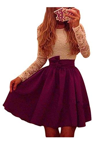 Las Mujeres De Cintura Alta Colorblock Lace Patchwork Swing Vestido De Fiesta Red XL