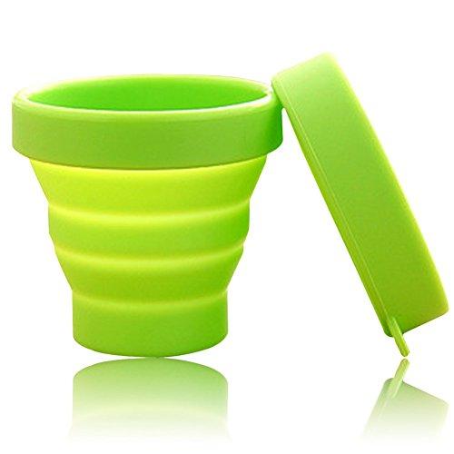 sentechuk® Tragbare weiche Silikon Tasse, faltbar klappbar Outdoor-Reise Camping Trinkbecher Zahnputzbecher, Silikon, grün (Weiche Tasse)