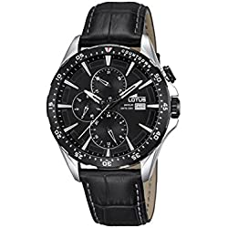 Lotus Men's Quartz Watch with Black Dial Analogue Display and Black Leather Strap 18312/4