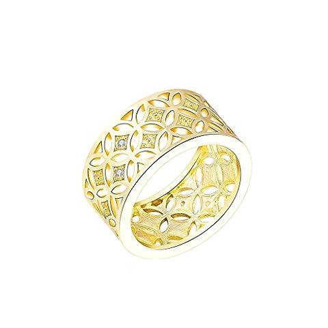 Epinki Damen Ringe, Vergoldet Valentine Trauringe Damenringe Gold Hohl Cubic Zirkonia Perforierte Ring Gr.52 (16.6)