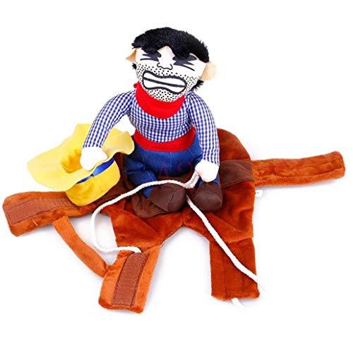 Beito Haustier Hund Kostüm-Ausstattungs-Ritter-Stil Mit Puppe Und Hut Kostüm Lustige Kleidung Cowboy-Reiter
