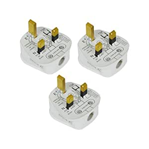 Status 13 A 3-Pin Plug - White (Pack of 3)