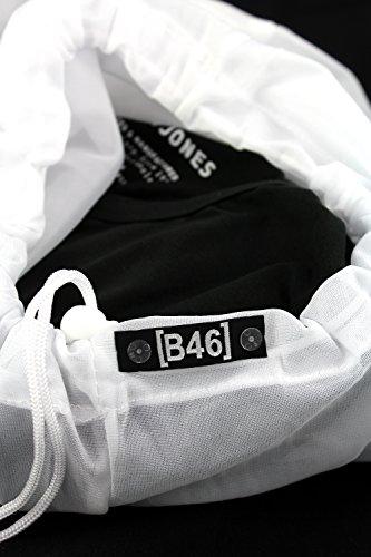 JACK & JONES 3er Pack Herren T-Shirt Basic V-Ausschnitt oder Rundhals einfarbig Slim Fit in weiß schwarz blau grau inkl GRATIS Wäschenetz von B46 3er Pack O grau