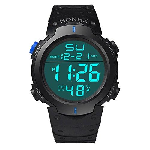 SUNNSEAN Uhr,Art und Weise Wasserdichte Männer Boy LCD Digital Stoppuhr Datum Gummi Sport Armbanduhr Chronograph Beiläufig Armbanduhren (Blau)