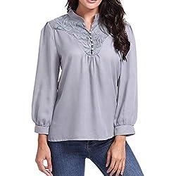 JiaMeng Camiseta para Mujer DE la Chaleco Top Blusa de Manga Larga con Cuello en V de Color Liso Blusas de Patchwork de Encaje con Estilo(Gris,L)