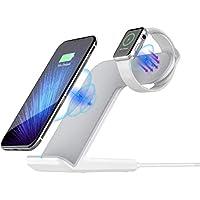Apple Watch Ständer, Sararoom 2 in 1 Qi Wireless Charger iWatch iPhone kabellos Ladegerät Schnellladestation für iPhone X/8/8Plus Galaxy S9/S8/S7 Edge Weiß