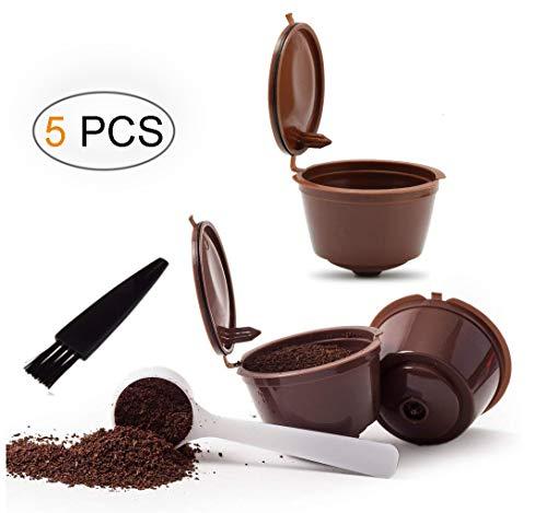 Umiwe Filtros Cápsulas de Café Puede Rellenables 3 Pcs Recargable Reutilizable para Cafetera Dolce Gusto con 1 Cucharón de Plástico y 1 Cepillo de Limpieza (Marrón)