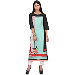 W for Woman Women's Straight Kurta (16AU15949-57801-10-Green and Black)