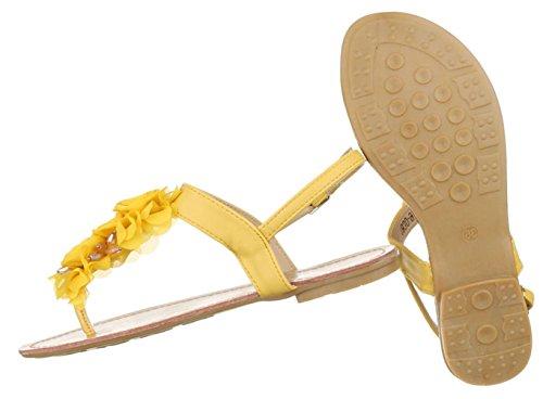 Damen Sandalen Schuhe Sommerschuhe Strandschuhe Zehentrenner Schwarz Gelb 36 37 38 39 40 41 Gelb