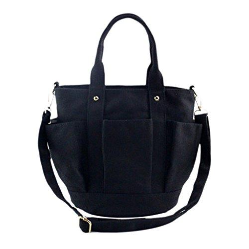 Longra Borsa a tracolla donne moda Canvas Handbag Nero