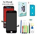 Screen Replacement For iPhone 8 (4.7 inch) -3D Touch LCD Screen Digitizer Replacement Display Assembly with Waterproof Adhesive, Tempered Glass, Tools,Instruction (Black)