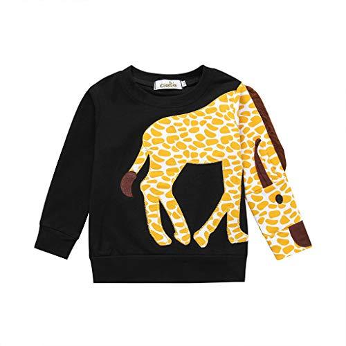 HEETEY HEETEY Kinder T-Shirt Sommer Oberteile, Kleinkind-Baby-Mädchen-Karikatur-Giraffe Druckoberseiten-T-Shirt Lässige Kleidung für Kinder Crew Neck Blusen Tops