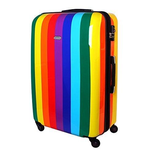XXL Karry Hartschalen Reise Koffer Reisekoffer Trolley TSA Zahlenschloss 110 Liter Rainbow 820