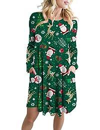 Weihnachtskleid Damen  Festlich Kleid Langarm Kleid mit Weihnachtsmann  Schneemann Partykleid Knielang Weihnachten Kleid für Damen… 40f3ad118b