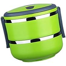Contenedor de Alimentos Térmica Lonchera Material Aislante Bolsas para llevar Comida Sándwiches Acero Inoxidable - Verde, 2Capas