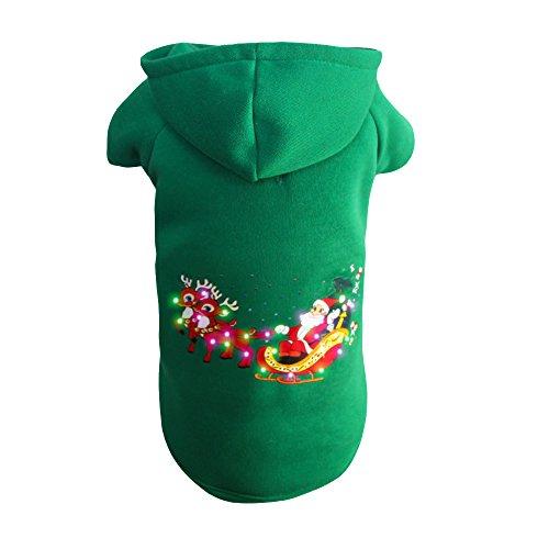 Doggie&Kitty LED Beleuchtung Fustige Haustier Wintermantel Kostüm Kapuzenpulli Kleidung Kapuzenpullover für Hunde Weihnachten Nikolaus Schlitten Rentiere Mantel Pullover Grüne XS