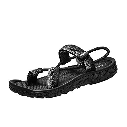 POIUDE Männer Sandalen Sommer Lässige Männer Ethnischen Eigenschaften Hohlen Sandalen Faul Strandschuhe(Gray, 45)