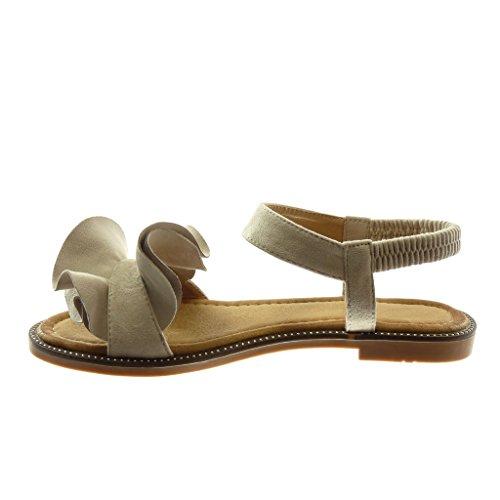 Angkorly Chaussure Mode Sandale Lanière Cheville Femme à Volants Talon Bloc 1.5 CM Beige