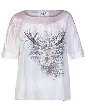 Hangowear Damen Trachten Blusenshirt Weiss Rosa, Rosa Weiss,