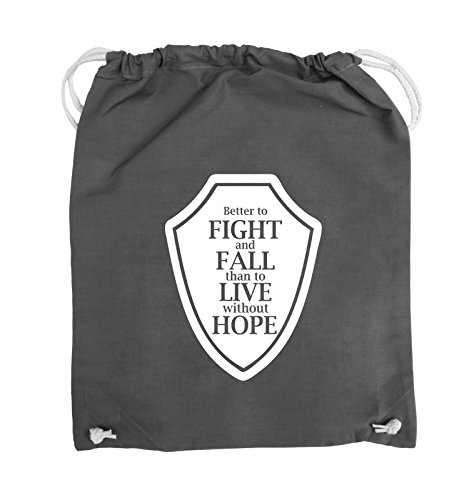 Comedy Bags - Better to fight and fall than to live wihtout hope - Turnbeutel - 37x46cm - Farbe: Schwarz / Pink Dunkelgrau / Weiss