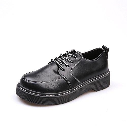 British Style scarpe scarpe allentati autunno base spessa nuovo caldo non-slip black
