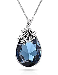 Alantyer 2.25 Ct Round Cut Emerald Cubic Zirconia CZ Solitaire Pendant Necklace for Women and Girl, 40+5CM Extender