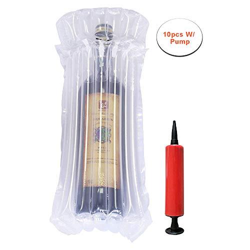 Bolsas protectoras de burbujas para botellas de vino con bomba, columna de aire inflable para embalaje y transporte seguro de botellas de vidrio en Airplane Cushioning, 10PCS