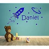 Cohete Espacial y Estrellas Niños Personalizado Nombre Mural Pegatina de Pared
