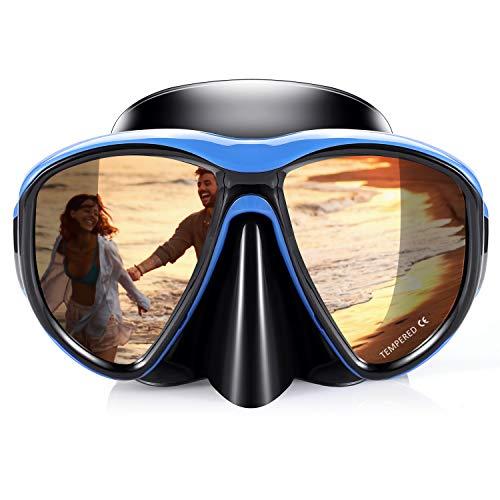 Taucherbrille Schnorchel Set, 2019 Erwachsene Schnorcheln Tauchen Maske Kein Auslaufen Anti Fog UV Schutz 180 Grad Vision Silikon Schwimmbrille Maske für freies Tauchen