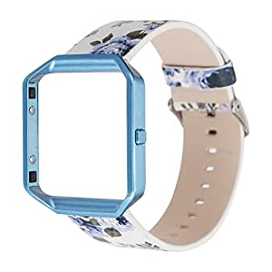 Floral Leather Strap Replacement WatchB& Frame Holder Shell Fitbit Blaze  Moti (150-225MM)(B)
