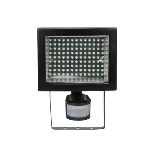 Ranex 8.77 Watt 117 x LED Outdoor Floodlight in Black Aluminium and Glass with Movement Sensor XQ1008