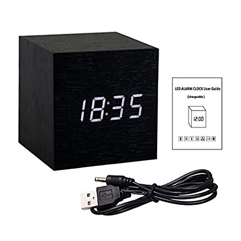 Gerhannery Led Alarm Clock Wooden with Rechargeable Built-in Battery Style Time and Temperature Dual Display Digital Alarm Clock with White Led Activated by Touching or Voice Control-Energy