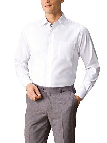 Walbusch Herren Hemd Bügelfrei-Strukturhemd Comfort Fit 100% Baumwolle einfarbig Weiß 43 - Langarm extra kurz