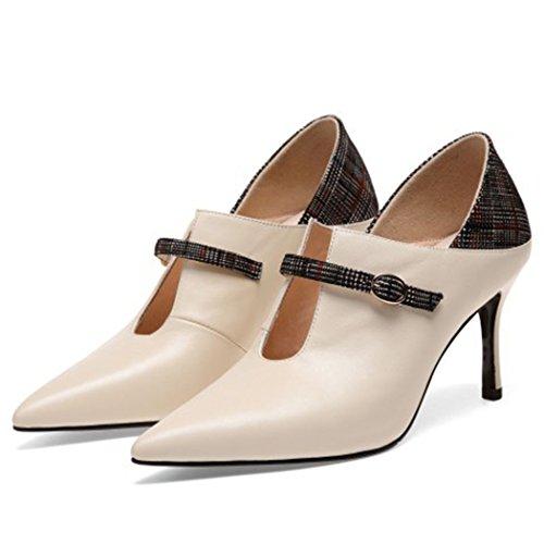 CBDGD Damenschuhe Wiesen High Heels High Heels High Heels Mode Arbeitsschuhe Clown einfache Damen Stiefel Casual Schuhe Party High Heels (Color : Creamy-White, Size : 37 EU)