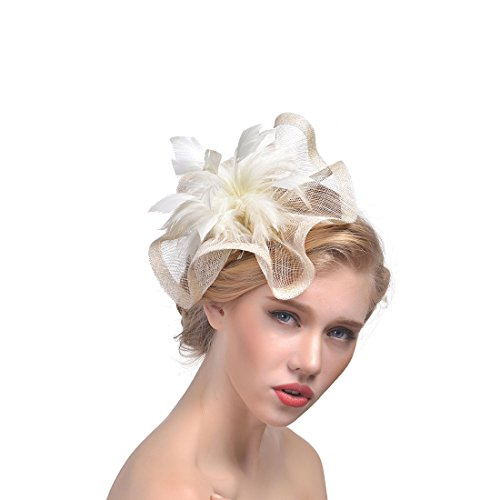 Sunzeus Feder Leinen Damen Hüte weiße Hochzeits Hüte für Brauthaar Klipp Mädchen Abschlussball Partei Haar Zusätze-Elfenbein (Elfenbein Weiß Leinen)
