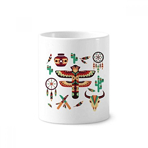 Native American Dream Catcher - Soporte para bolígrafo de cerámica, 350 ml, color blanco
