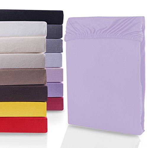 DecoKing 19665 200x220-220x240 cm Spannbettlaken violett 100% Baumwolle Jersey Boxspringbett Spannbetttuch Bettlaken Betttuch Violet Nephrite Collection -