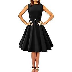 'Audrey' Vestido Vintage De Los Años 50 Clarity (Negro, ES 40 - M)