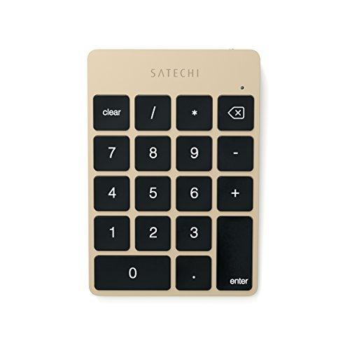 Satechi Slim Tragbares Aluminium Bluetooth Wireless 18 - Keypad/Tastatur/Nummernblock Dateneingabe in Excel- kompatibel mit iMac, Macbook, Macbook Pro, Laptops, Arbeitsstationen (Gold)
