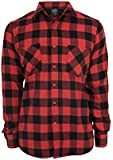 Urban Classics Men's  CheckeredCasual Shirt -  Multicoloured - Blk/Red - Large