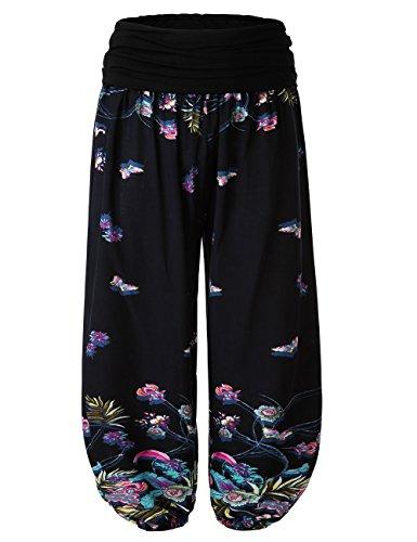 BAISHENGGT Damen Pumphose Haremshose Blumenmuster Lange Hose Blau-Schmetterling One Size