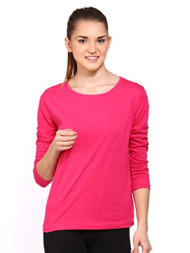 Ap'pulse Women's Long Sleeve Round Neck T Shirt (AP-WM-RN-LONGSLV-245-DKPINK-XXL)  available at amazon for Rs.295