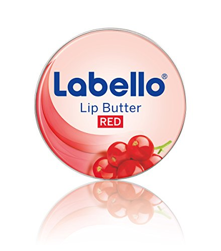 Labello Lip Butter Berry Red Lippenbalsam, zart schmelzende Lippenbutter mit Johannisbeeren-Aroma zur intensiven Lippenpflege, 4er Pack (4 x 16,7 g) -