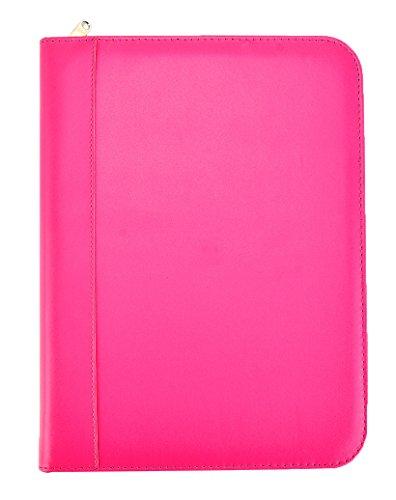 Carpeta de anillos con calculadora, funda con cremallera y estuche rosa - Arpan