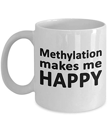 Methylation Makes Me Happy Coffee Mug - C677T A1298C MTHFR MAOA Gene - Genetic Mutation - Ceramic Tea Cup Gift for Christmas